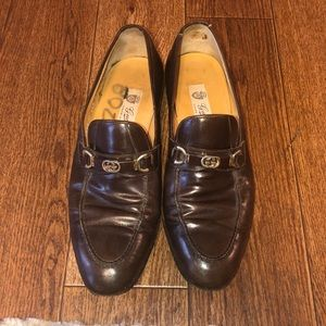Gucci Mens 42.5 VINTAGE Brown Leather Loafers NICE